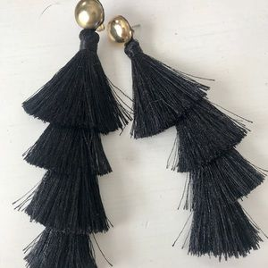 Black Tassle Earrings